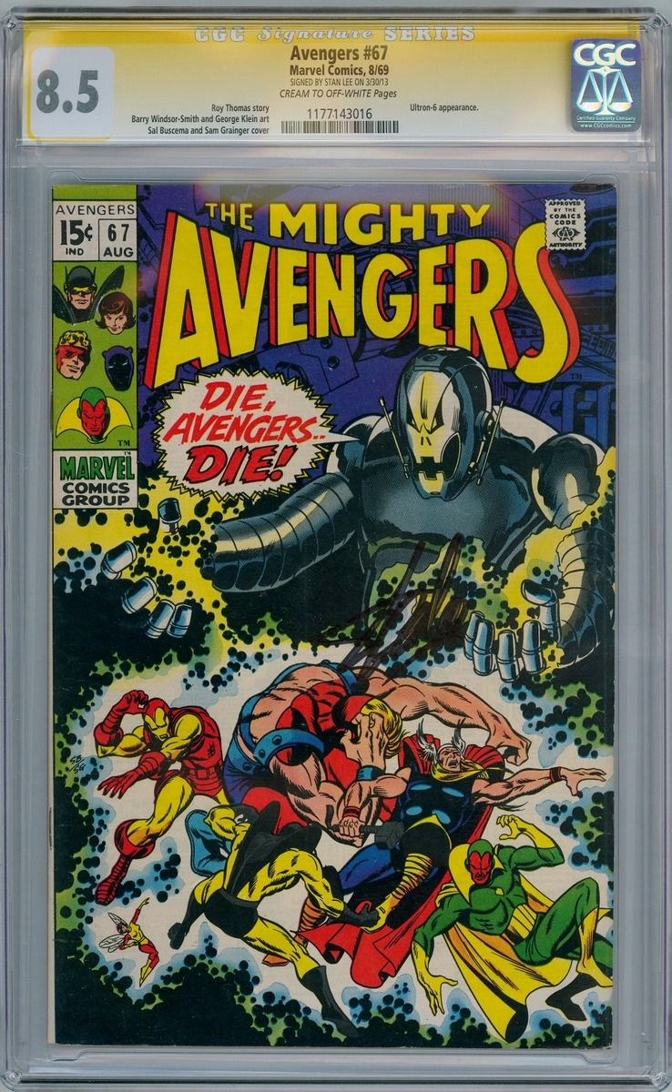 Avengers 67 CGC 85 Signature Series Signed Stan Lee First Ultron Cover Appearance Marvel Comic Book