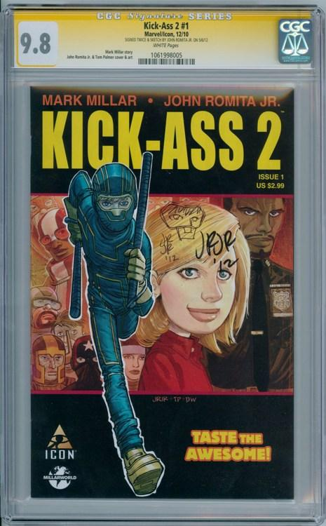 Kick-Ass 2 1 First Print CGC 9.8 Signature Series Signed John Romita JR &  Sketch Marvel comic