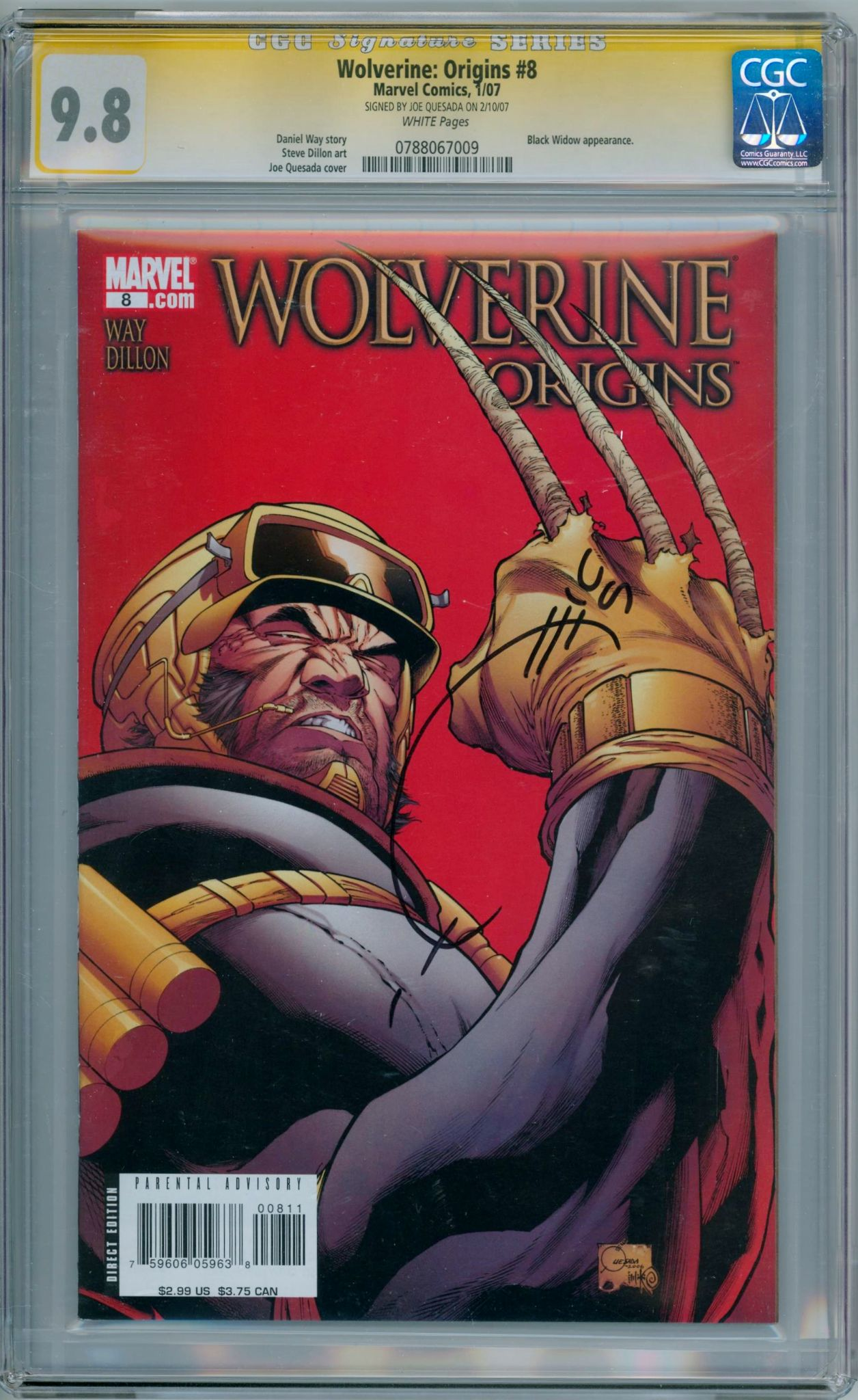5aa192ab50c Wolverine Origins #8 CGC 9.8 Signature Series Signed Joe Quesada Marvel  comic book